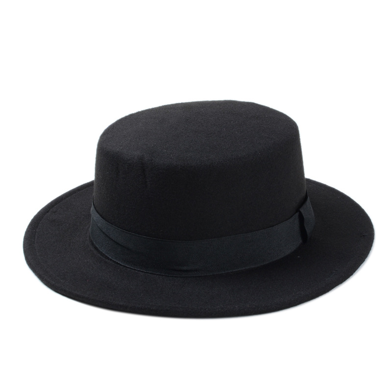 10 Color Men Women Fedora Hat Flat Dome Oval Top Bowler Porkpie Toca Sombrero Hat With Black Ribbon Band 10
