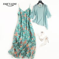 FAYE'S LOVE new spring / summer 100% real silk set ,high quality o neck silk shirt and print silk sets,F2763
