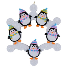 2015 Snowflake Penguins Family of 5 Personalized Ornament