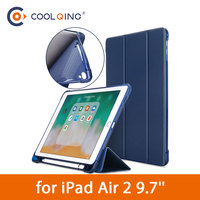 soft tpu TPU Tablets Case For iPad Air 2 9.7 Soft Tri-fold PU Leather Smart Protective Covers With Pen Slot Tablet Case For iPad Air Case (1)