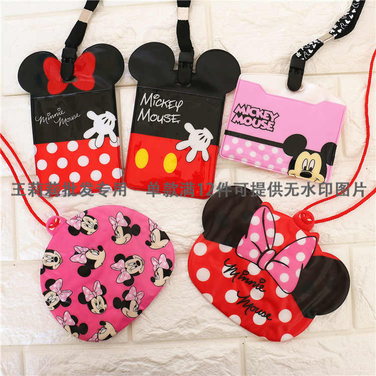 Disney cartoon kinderen Lanyard Purse Coin Mickey Mouse card mini bag Storage key oortelefoon jongen meisje bus ID card hold case Minnie