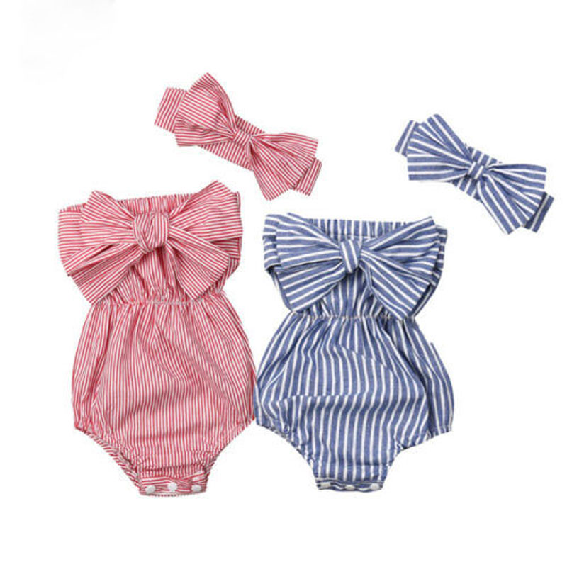 Focusnorm Newborn Baby Girls 0-24M Bow Striped   Romper   Sleeveless Jumpsuit Headband 2PCS Outfits Sunsuit