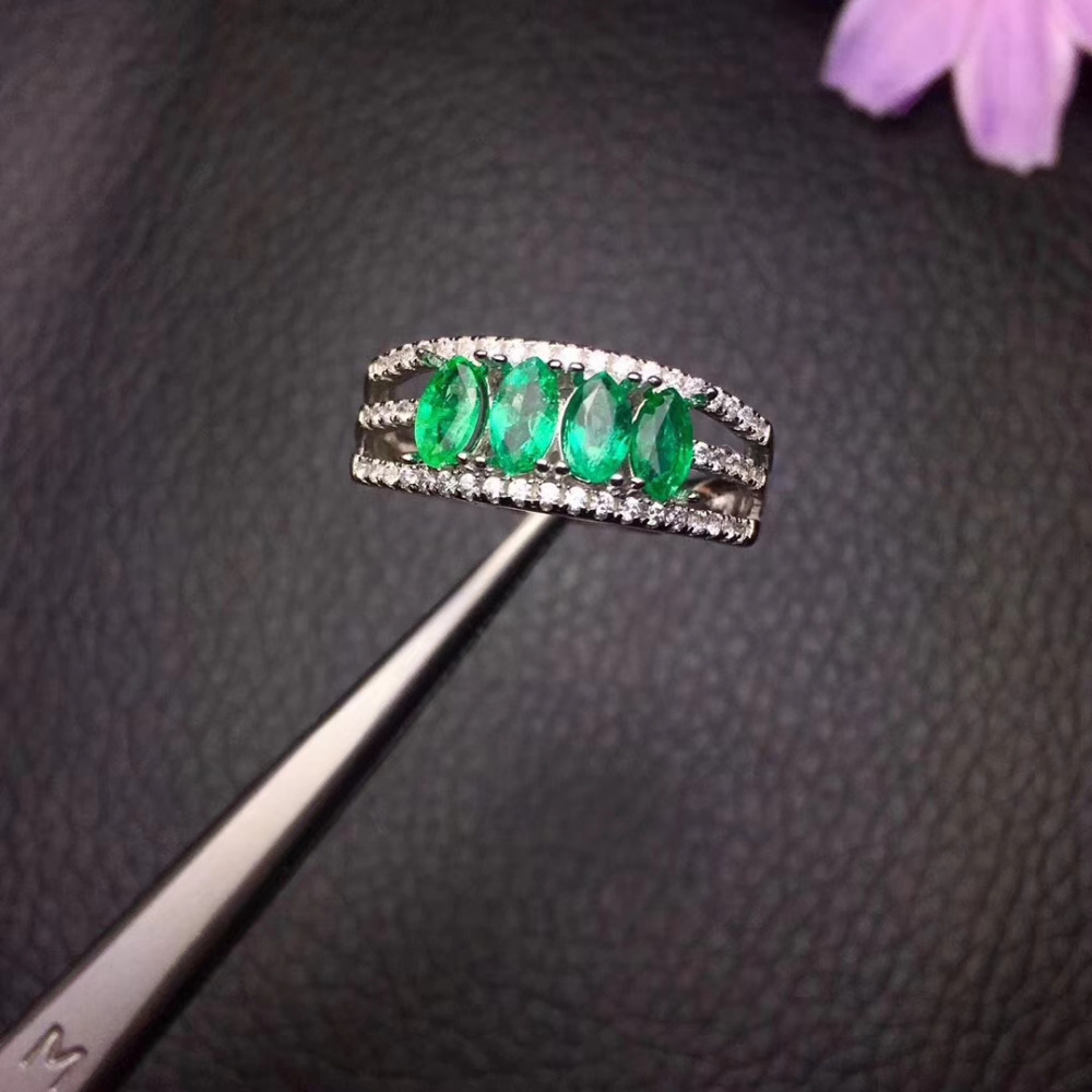 Fashion Elegant wide Row Natural green emerald gem Ring Natural gemstone ring S925 silver women party girl gift fine Jewelry bella fashion lovely crown frog animal party ring green enamel open ring gold tone for women girl party daily jewelry gift