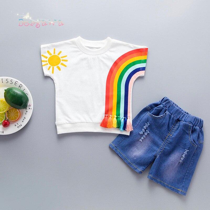 2018 Summer Baby Girls Boys Kids Rainbow Tassel Short Sleeve T-shirt Tops+Denim Jeans Hole Pants 2pcs Infants Clothes Set S6679