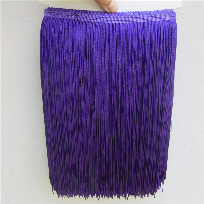 10 Meters Purple Polyester Lace Tassel Fringe Lace Trim Ribbon Sew Latin Dress Stage Garment Curtain Accessories 30cm Width