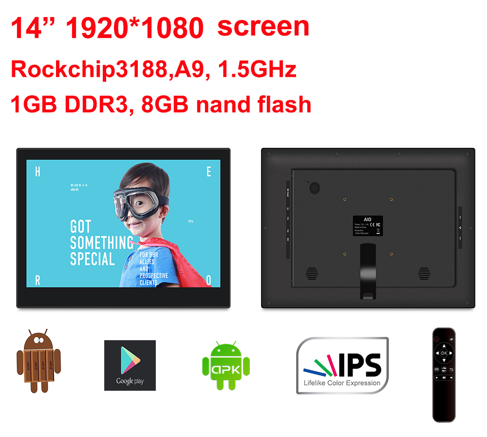 """14"""" Android All in one pc with Remote (no touch,Quad core, 1.6Ghz, 1GB DDR3, 8GB nand, IPS1920*1080, Bluetooth, 100*100mm VESA)"""
