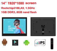 14 Android All in one pc with Remote (no touch,Quad core, 1.6Ghz, 1GB DDR3, 8GB nand, IPS1920*1080, Bluetooth, 100*100mm VESA)