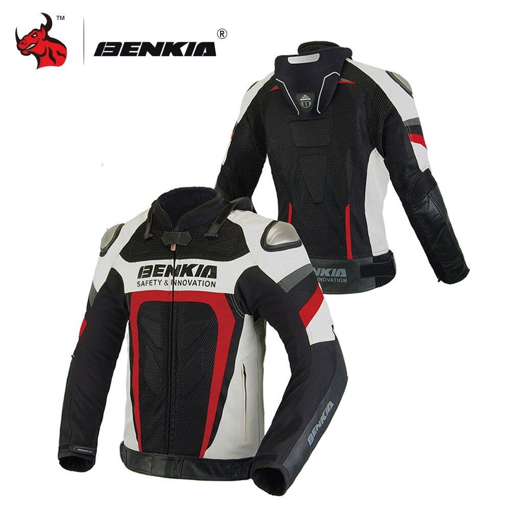 BENKIA chaqueta de la motocicleta de los hombres a prueba de viento y transpirable de la motocicleta chaqueta de carreras de Moto chaqueta ropa S-4XL