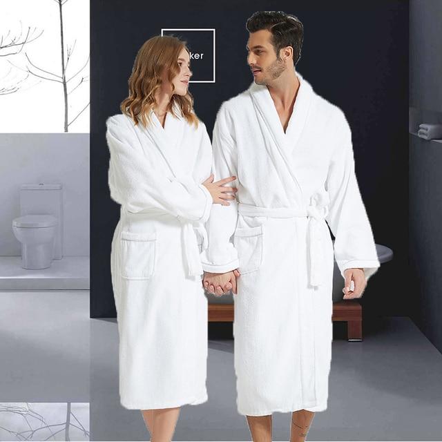 Men Bathrobe Cotton Towel Kimono Autumn Thick Warm Towel Fleece Terry Sleepwear Long Robe Hotel Spa Soft Long White Bath Robe