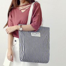 2019 Fashion Durable Women Student Cotton Linen Single Shoulder Bag Shopping Tote Stripe Female Flax Canvas Bags