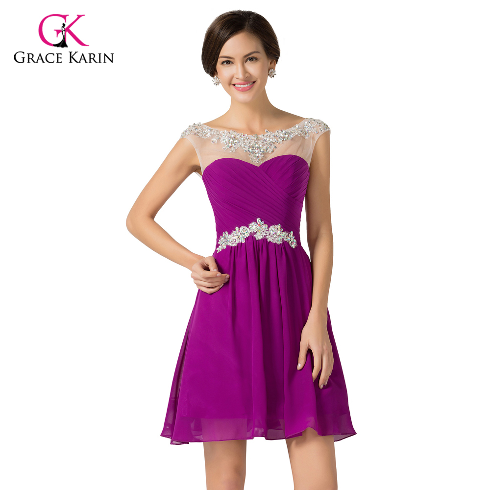328881a303bdf Cheap Bridesmaid Dresses under 50 Grace Karin royal Blue Purple Women  Chiffon Beaded Prom Dress Short bridesmaid Dresses 2017-in Bridesmaid  Dresses from ...