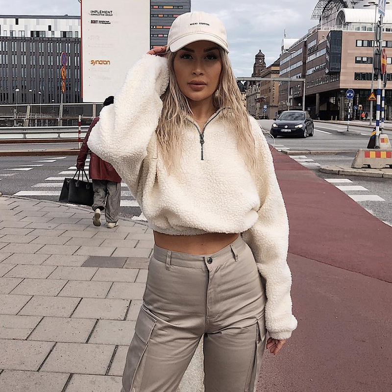 HTB1rohzXEjrK1RkHFNRq6ySvpXah Hugcitar long sleeve zipper high neck Faux lambswool crop tops 2018 autumn winter women fashion solid coat jacket