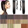 24 дюймов Длинные прямые Хвостик 16 цвета особенности строения Ribbon Ponytail Наращивание Волос Клип В хвостики Наращивание Волос Поддельные хвостики