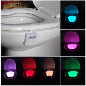 Image 5 - Умный ночной Светильник для сиденья унитаза с датчиком движения, 8 цветов, водонепроницаемый светильник с подсветкой для унитаза, светодиодная лампа Luminaria, туалетный светильник