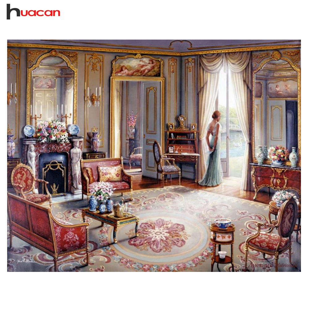 HUACAN Full Scenery Diamond Mosaic Embroidery Kits Crystal Drawing Bedroom Decor Diamond Painting Cross Stitch Festival Gift