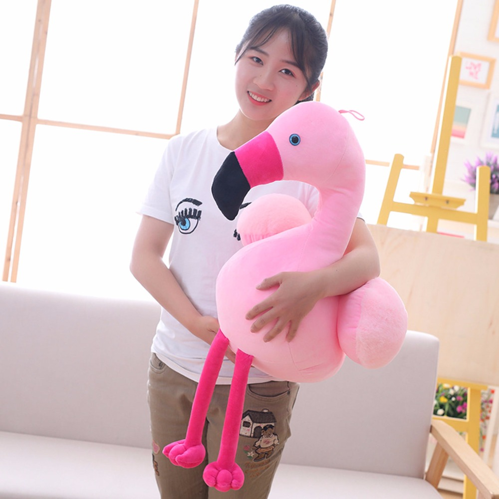 Babiqu 1pc 40/55cm Cute Pink Flamingo Plush Toys Stuffed Wildlife Bird Swan Dolls for Kids Home Decor Birthday Gift for Lovers 45cm chinese cheap plush rose pink flamingo stuffed cartoon animal keychain cute doll toys for home decor baby gifts for kids