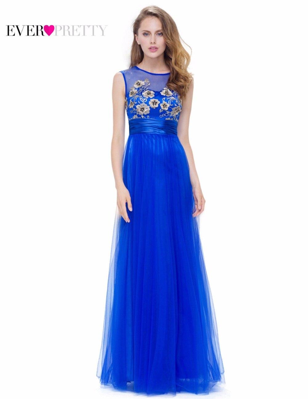 Модное сапфировое синее вечернее платье трапециевидной формы Ever Pretty EP08899SB новое поступление женское Элегантное Длинное платье без рукавов ...