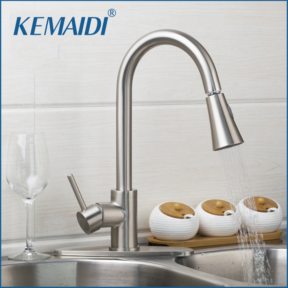 KEMAIDI US Pull Out Spray Kitchen Faucet Tap Brushed Nickel Mixer Single Hand Kitchen Taps Mixer Brass With Cover Plate kitchen faucet brass brushed nickel faucet for kitchen tap pull out rotation spray mixer tap torneira cozinha