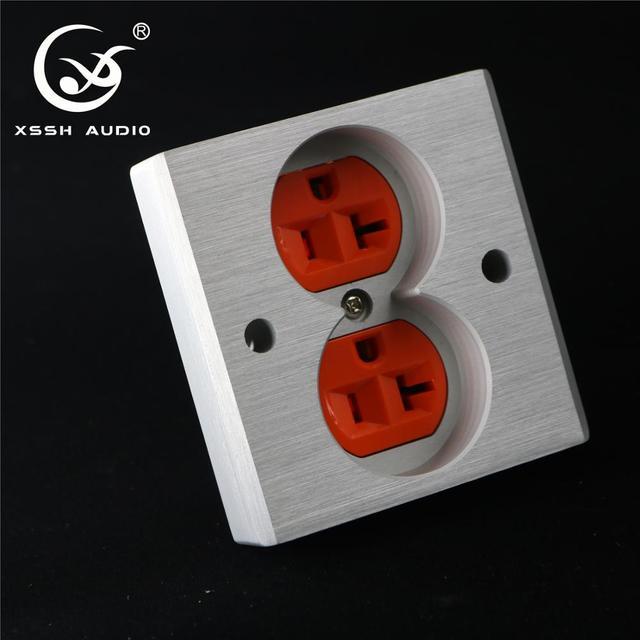 XSSH Audio YS36 # DIY toma de corriente de entrada eléctrica HIFI, chapado en cobre rojo, oro de 24k, 20Amp, 20A, 86x86x20mm, CA, EE. UU. IEC