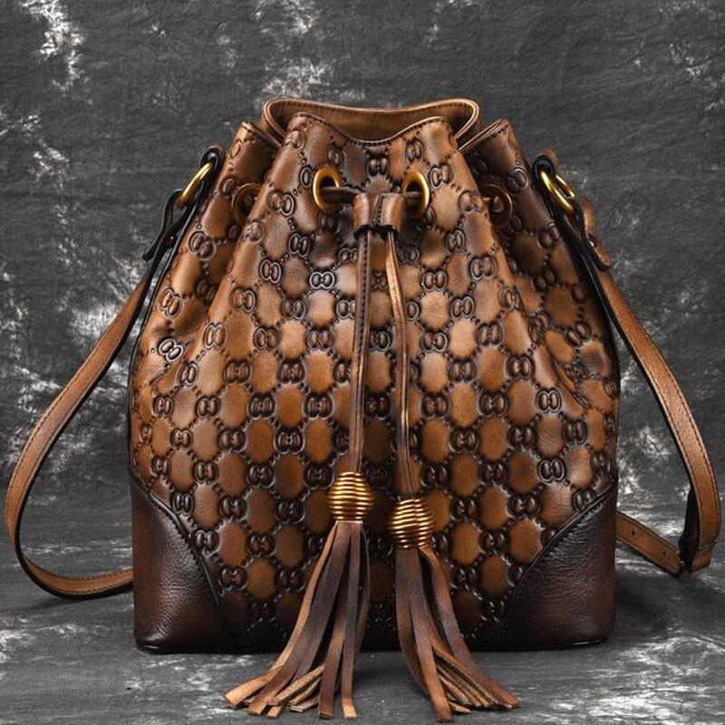 Nouveau sac à bandoulière rétro en cuir véritable pour femmes décontracté bandoulière classique pour femmes-in Sacs à bandoulière from Baggages et sacs    1
