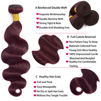 HairUGo Malaysian Body Wave Hair Bundles With Closure 99J Burgundy Ombre Human Hair Bundles With Closure Non Remy Hair Weaving 3