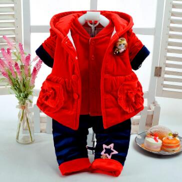 Newborn Baby Girl Clothes Set 2017 Fall Winter Children Warm Cotton-Padded Clothing 3pcs suit  Infant Girls Toddler Outwear Sets cotton baby rompers set newborn clothes baby clothing boys girls cartoon jumpsuits long sleeve overalls coveralls autumn winter
