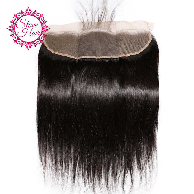 Slove Lace Frontal Closure Straight Brazilian Remy Hair 13x4 Ear To Ear Bleached Knots With Baby Hair Pre Plucked Hairline