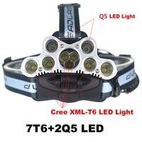 Waterproof 12000 Lumens USB Rechargeable 9 Leds Bike Flashlight Headlamp Cree T6 + Q5 Headlight Fishing Lamp for 18650 Battery