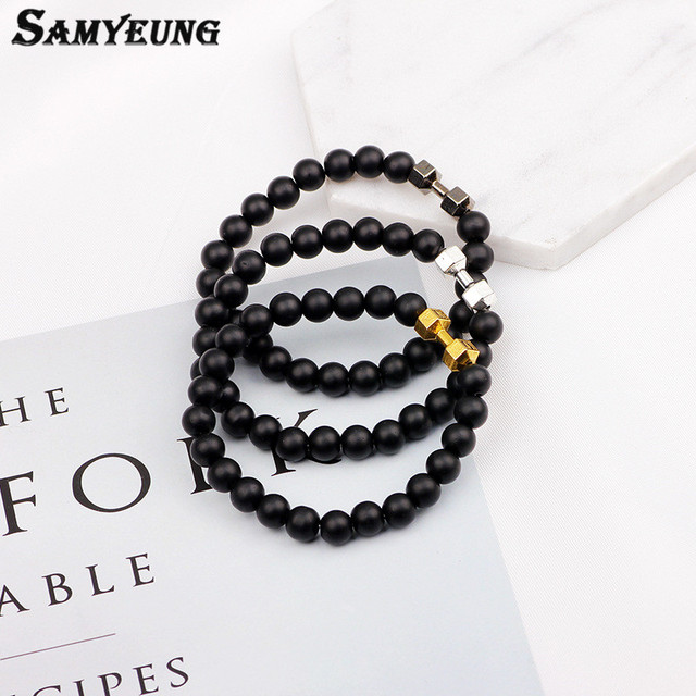 Samyeung NEW! Natural Stone 6mm Gold Dumbbell Bracelets for Men Beads Bangels Bracelet Homme Braclet Woman Braslet Bijoux Femme 5