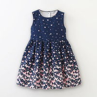 Summer Girls Dress Fashion Butterfly Printed Woven Dress For Girl Cotton Tiered Jersey Kids Vest Dresses