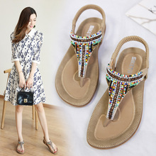 2019 womens shoes summer national wind female sandals bohemian casual fashion beaded large size beach flat
