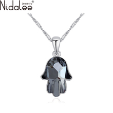 Nidalee 2016 New Statement Necklace Crystal Fatima Hand Brand Pendant Necklaces Crystals From Swarovski Rhodium Plated Chain1831