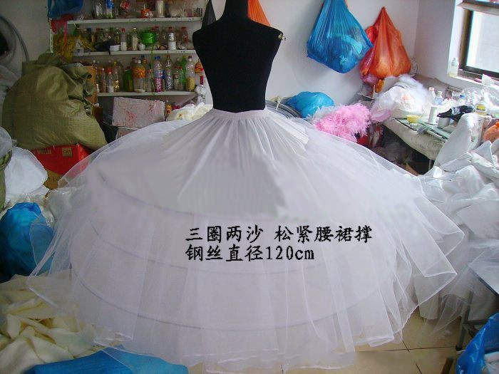 Fast Shipping White/Black 3 Hoops 2 Layers Tulle Petticoat Crinoline Slip Underskirt For Wedding Dress Bridal Gown In Stock