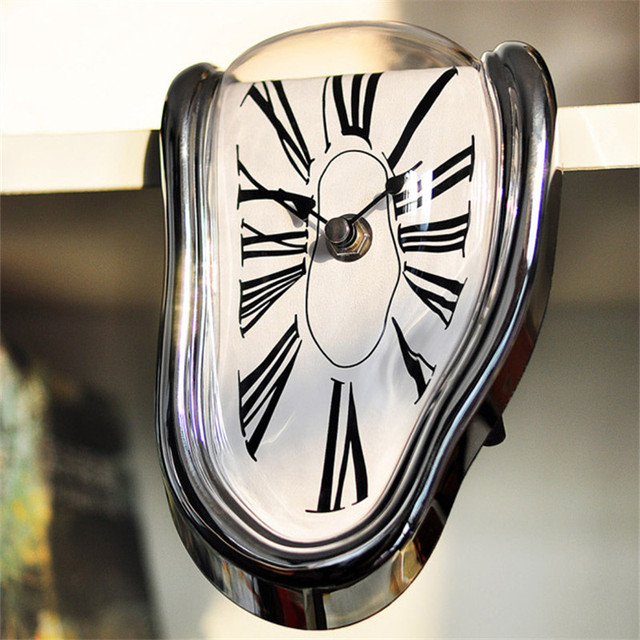 office clocks. Modern Art Design Distorted Clock Right Angle Electric Wall Battery Melting Clocks For Home Office F