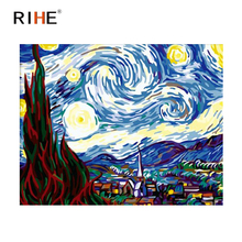RIHE Starry Sky Diy Painting By Numbers Abstract Moon Oil Painting On Canvas Cuadros Decoracion Acrylic Coloring By Numbers Art rihe amused expression diy painting by numbers abstract cute cat oil painting on canvas cuadros decoracion acrylic wall art
