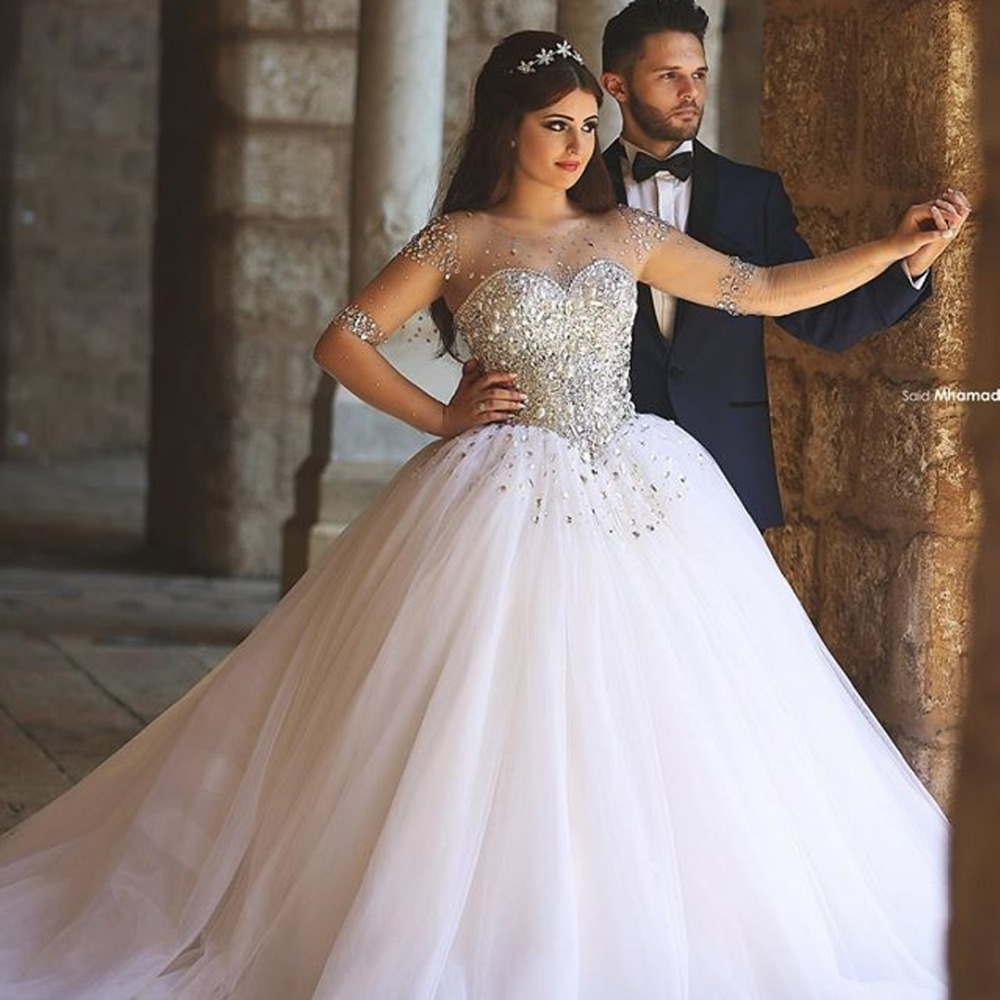 Images Of Ball Gown Wedding Dresses: Luxurious Long Mesh Sleeve Illusion Neckline Beaded Bodice