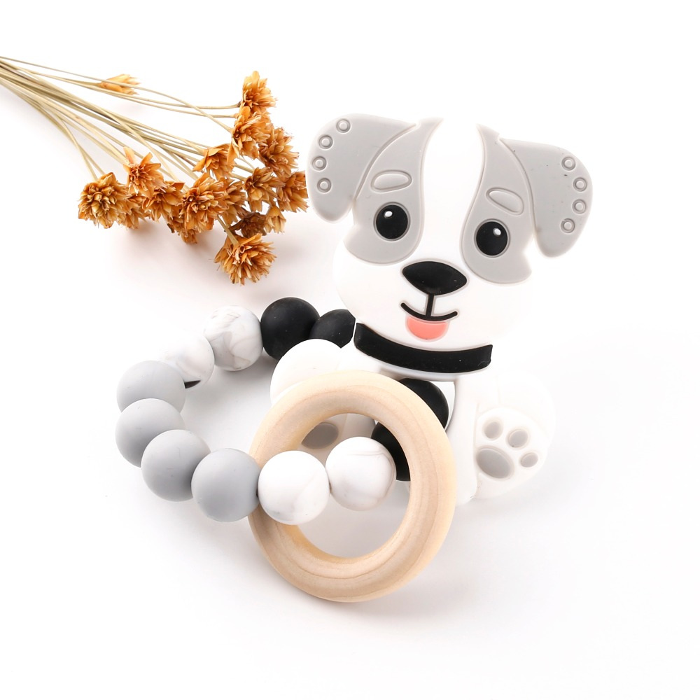 Bite Bites Silicone Gray Cartoon Dog Can Chew Food Grade Silicone Teether Baby Toys Ratt ...