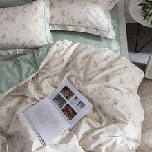 Cute blue green flower cotton bedding sets,single double twin full queen king home textiles flat sheet pillow cases duvet cover