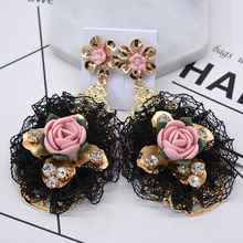 Tamaño grande joyería de moda pretty sexy elegante diseño del cordón encantador de alta calidad special barroco flores las mujeres pendientes de gota