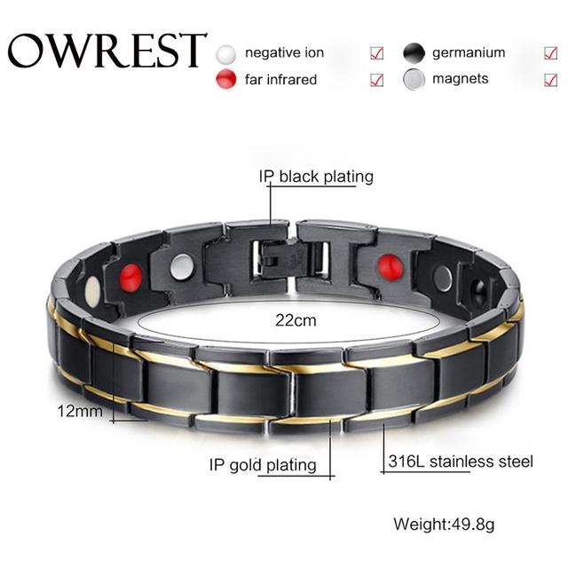 OWREST Fashion Black Men's Health Bracelets & Bangles Magnetic H Power Stainless Steel Charm Bracelet Jewelry For Man Bijoux