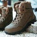 Зима Снег Сапоги для Человека 2016 Британский Стиль Зимняя Обувь мужская Открытый Сапоги Военные боевые Сапоги с мехом Плюшевые botas L101409