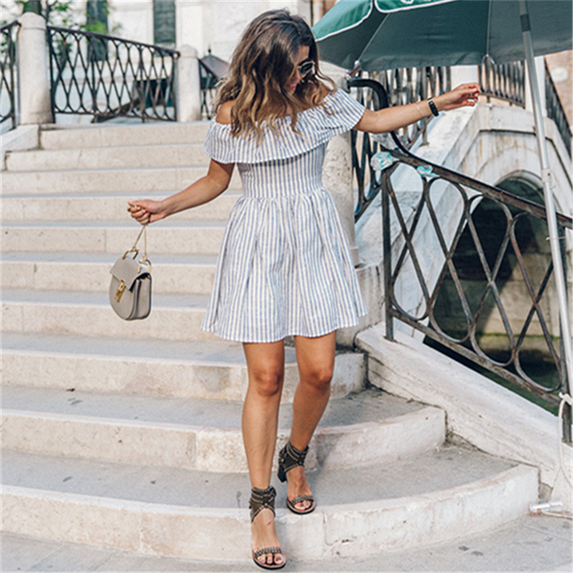 2017 New Women Summer Striped Off Shoulder Party Dress Ladies Club Sexy Beach Casual Mini Dresses Vestidos Free Shipping