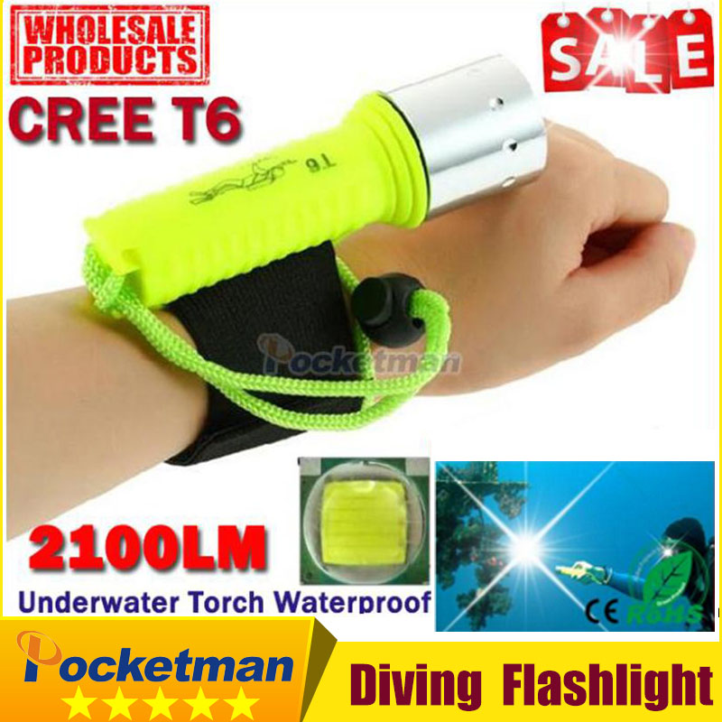 CREE T6 Diving Flashlight 2100LM  LED Waterproof Underwater Scuba Dive Torch Flash Light Lamp for Diving Free shipping z92 ru zk30 cree xm l2 diving led flashlight 5000lm zoomable torch lantern dive waterproof underwater 120m military grade flashlight