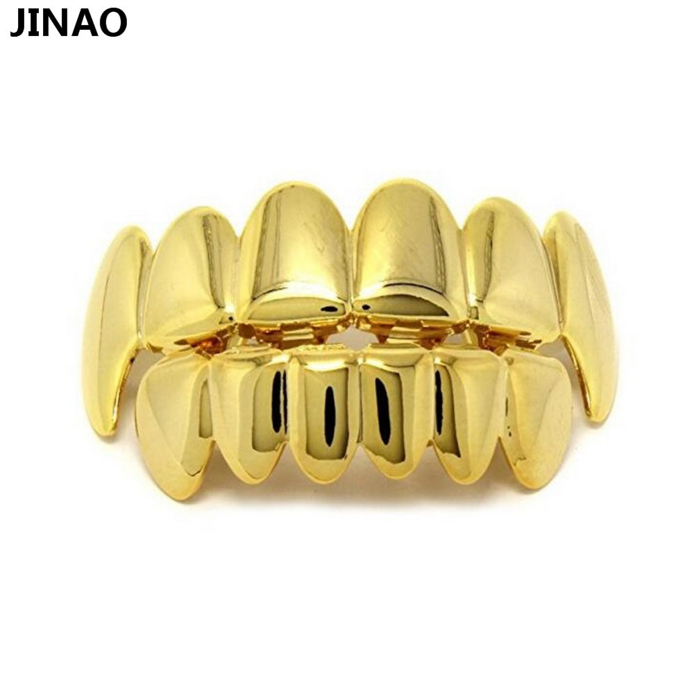 JINAO New Custom Fit Pure Gold Color Plated Hip Hop Teeth Grillz Caps Top&Bottom Grill Set for Christmas vampire Grills Sets