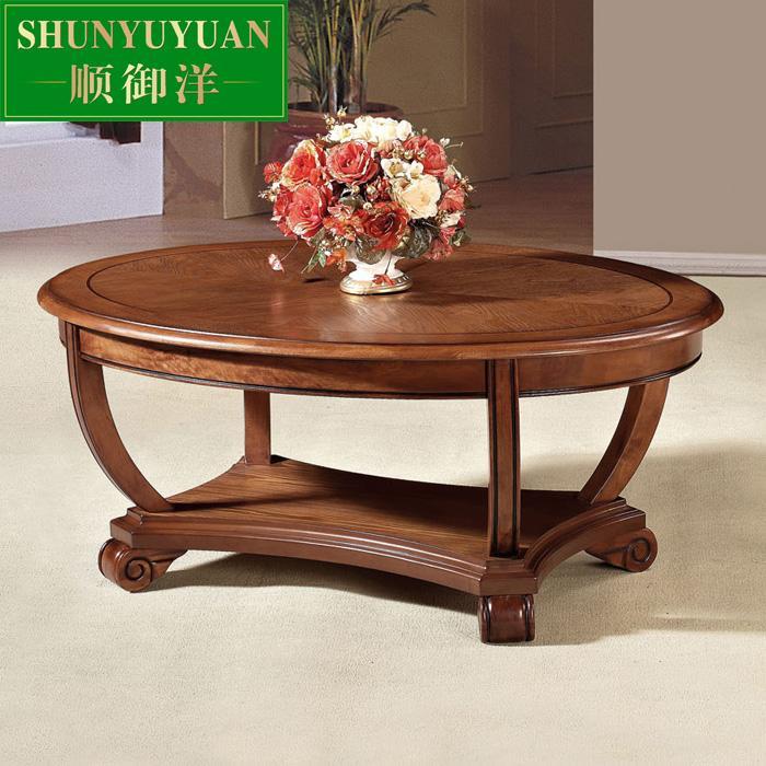 De estilo europeo sala de estar mesa de centro ovalada de for Sala de estar de madera