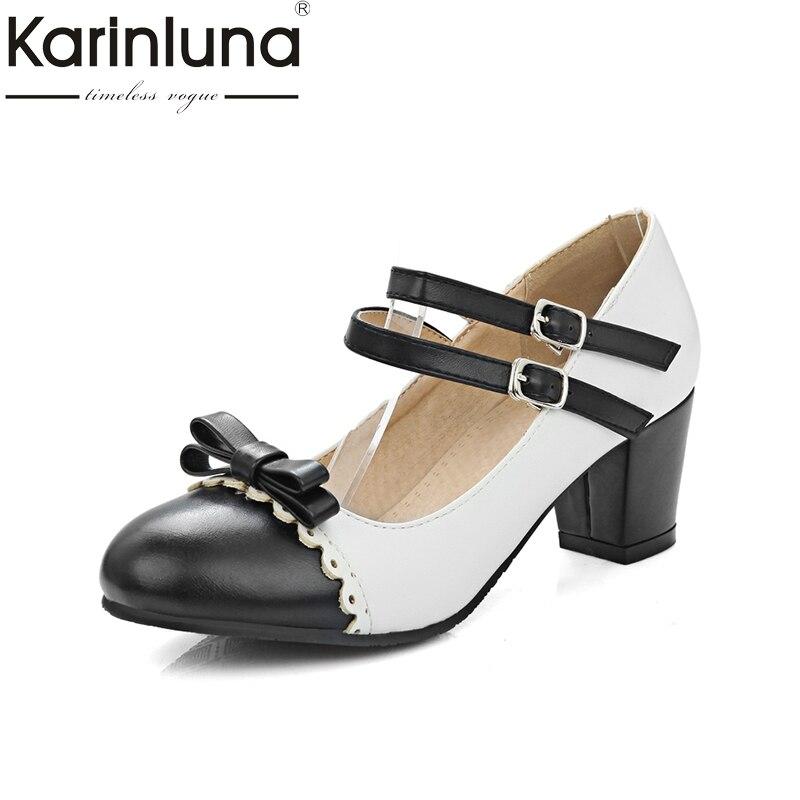 KarinLuna Large Size 31-48 Yellow Blue Mary Janes Square Heels Women Shoes Woman Pink Black Sweet Bowtie Girls Date Pumps цены онлайн