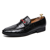 POLALI Luxury Brand Alligator Fashion Casual Men Shoes Genuine Leather Black Slip on Men Loafers Dress Flats for Driving Party
