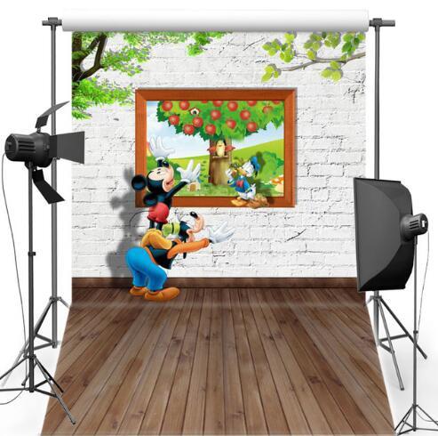 Fondos fotográficos de los niños Pared de ladrillo blanco Mickey - Cámara y foto