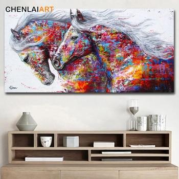 Iki Koşu Atlar Tuval Baskılar Boyama Soyut Hayvan Duvar Sanat
