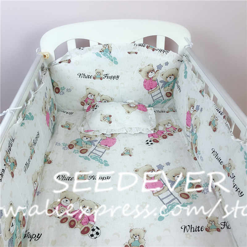 5pcs baby bedding set cotton crib sides bumpers pillow mattress back cushion children's bed linen newborn crib protector bears
